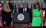 US President Donald Trump flanked by first lady Melania Trump is introduced by his daughter and White House senior adviser, Ivanka Trump, as he prepares to deliver his acceptance speech for the Republican presidential nomination on the South Lawn of the White House August 27, 2020, in Washington, DC (Chip Somodevilla/Getty Images/AFP)
