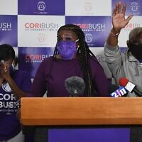 Missouri Democratic congressional candidate Cori Bush gives her victory speech at her campaign office in St. Louis, Missouri on August 4, 2020. (Michael B. Thomas/Getty Images)