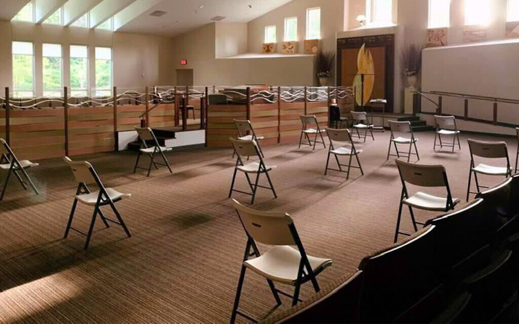 Chairs are set up for a socially distanced service at the Congregation Ohr HaTorah in Atlanta. (Courtesy of Rabbi Adam Starr/ via JTA)