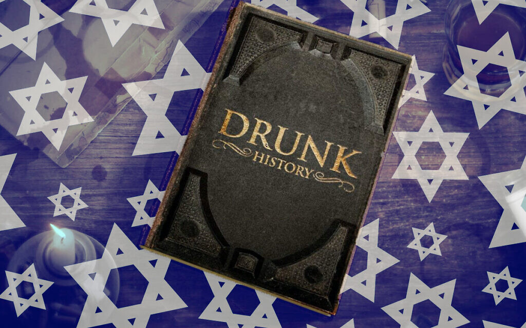 A copy of 'Drunk History' on a background of Jewish stars. (Getty Images / Emily Burack for Alma/ via JTA)