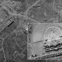 A photograph of the Roman amphitheater in Palmyra, Syria, taken by Israel's Ofek 16 spy satellite, which was released by the Defense Ministry on August 24, 2020. (Defense Ministry)