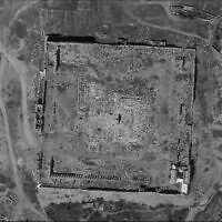 A photograph of the Temple of Bel in Palmyra, Syria, taken by Israel's Ofek 16 spy satellite, which was released by the Defense Ministry on August 24, 2020. (Defense Ministry)