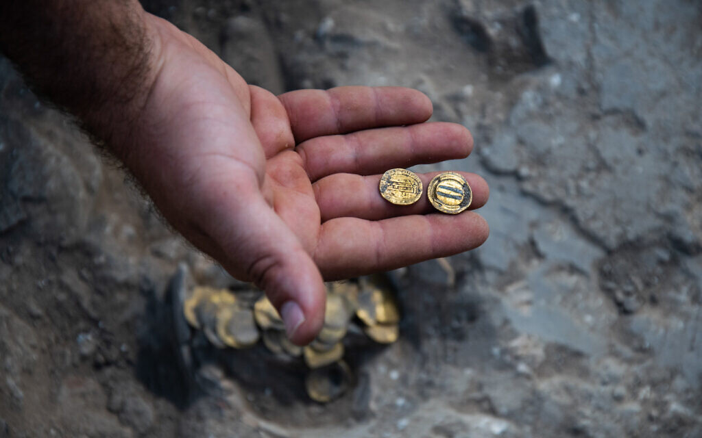 Gold coins found at central Israel archaeological dig (Yoli Schwartz/Israel Antiquities Authority)