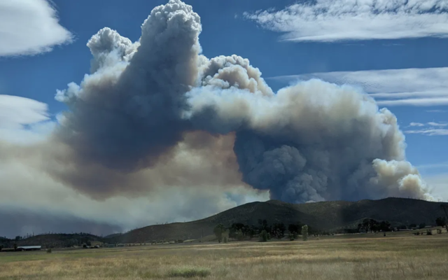 A fire in Napa County as seen from Middletown in Lake County, Calif., Aug. 19, 2020. (Jade May via JTA)