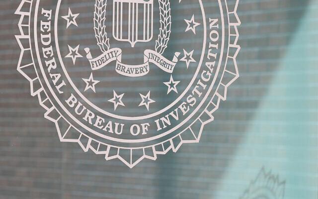 Illustrative: The FBI logo outside the Atlanta field office on February 1, 2019 in Atlanta, Georgia (Jessica McGowan/Getty Images via JTA)