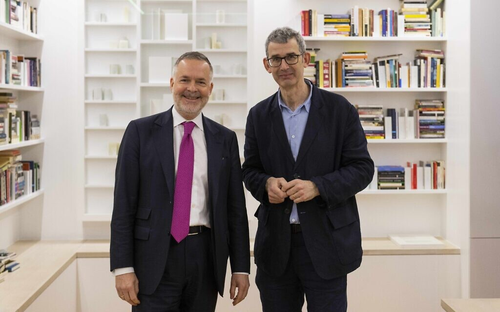 British Museum director Hartwig Fischer, left, with 'Library of Exile' creator Edmund de Waal at the installation at the British Museum. (Courtesy of the Trustees of the British Museum)