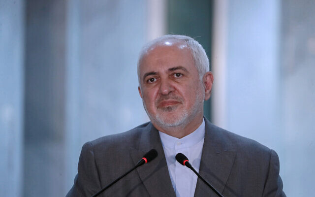 Iranian Foreign Minister Mohammad Javad Zarif speaks during a press conference with his Iraqi counterpart, Fouad Hussein during his visit to Baghdad, Iraq on July 19, 2020. (AP/Hadi Mizban)