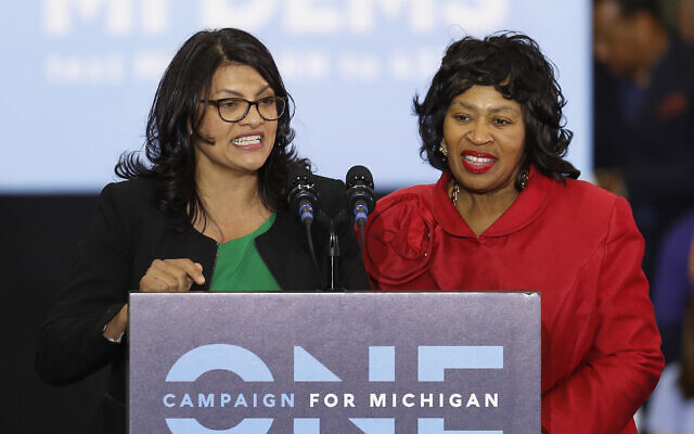 In an Oct. 26, 2018, file photo, Rashida Tlaib, left, then-Democratic candidate for the Michigan's 13th Congressional District, and Brenda Jones speak during a rally in Detroit. (AP Photo/Paul Sancya, File)