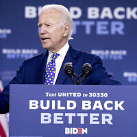 "Democratic presidential candidate Joe Biden speaks at a campaign event at the William ""Hicks"" Anderson Community Center in Wilmington, Delaware, on July 28, 2020 (AP Photo/Andrew Harnik)"