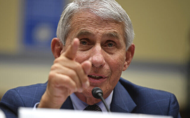 Dr. Anthony Fauci, director of the National Institute for Allergy and Infectious Diseases, testifies during a House Subcommittee hearing on the Coronavirus crisis, July 31, 2020 on Capitol Hill in Washington.  (Kevin Dietsch/Pool via AP)