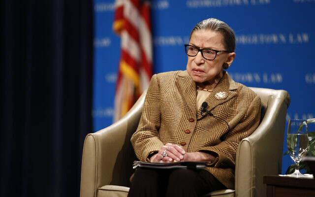 US Supreme Court Associate Justice Ruth Bader Ginsburg speaks during a discussion on the 100th anniversary of the ratification of the 19th Amendment at Georgetown University Law Center in Washington, February 10, 2020. (Patrick Semansky/AP)