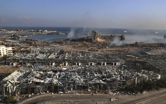 A general view of the scene the day after an explosion hit the seaport of Beirut, Lebanon, August 5, 2020. (Bilal Hussein/AP)