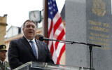US Secretary of State Mike Pompeo delivers a speech during a ceremony at the General Patton memorial in Pilsen near Prague, Czech Republic, August 11, 2020. (Petr David Josek/AP)