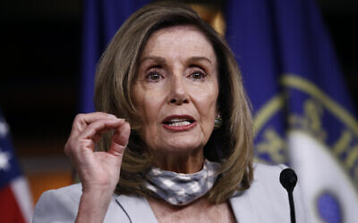 House Speaker Nancy Pelosi of California speaks during a news conference on Capitol Hill in Washington, August 13, 2020. (AP Photo/Patrick Semansky)