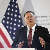 US Secretary of State Mike Pompeo holds a joint news conference with Austrian Foreign Minister Alexander Schallenberg in Vienna, Austria, August 14, 2020. (Lisi Niesner/Pool via AP)