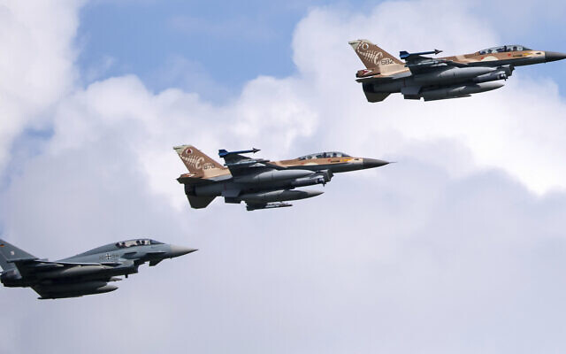 German air force Bundeswehr Eurofighters and Israeli Air Force F-16 jets and a Gulfstream plane fly in formation near Munich in commemoration of the 1972 Munich Olympic Games massacre in which 11 Israeli athletes were killed, on August 18, 2020. (Sven Hoppe/dpa via AP)
