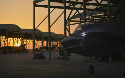 In this April 24, 2019, photo released by the US Air Force, an F-35A Lightning II fighter jet prepares to taxi and take off from Al-Dhafra Air Base in the United Arab Emirates. (Staff Sgt. Chris Drzazgowski/US Air Force via AP)
