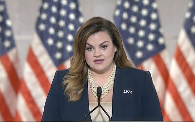 In this image from video, Abby Johnson speaks from Washington, during the second night of the Republican National Convention on August 25, 2020. (Courtesy of the Committee on Arrangements for the 2020 Republican National Committee via AP)