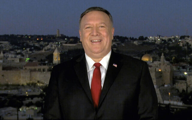 In this image from video, US Secretary of State Mike Pompeo speaks from Jerusalem during the second night of the Republican National Convention on August 25, 2020. (Courtesy of the Committee on Arrangements for the 2020 Republican National Committee via AP)