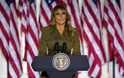US first lady Melania Trump speaks on the second day of the Republican National Convention from the Rose Garden of the White House, August 25, 2020, in Washington. (AP Photo/Evan Vucci)