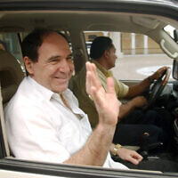 Former Ecuadorean President Abdala Bucaram leaves the Foreign Ministery in Panama City, Panama in this April 27, 2005. (Arnulfo Franco/AP)
