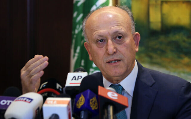 Resigned Lebanese Justice Minister, Ashraf Rifi, speaks during a press conference at his house in Beirut, Lebanon, September 2, 2016. (AP Photo/Bilal Hussein)