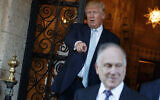 Donald Trump points at World Jewish Congress President Ronald Lauder after meeting at Mar-a_Lago, on December 28, 2016, in Palm Beach, Fla. (AP/Evan Vucci)