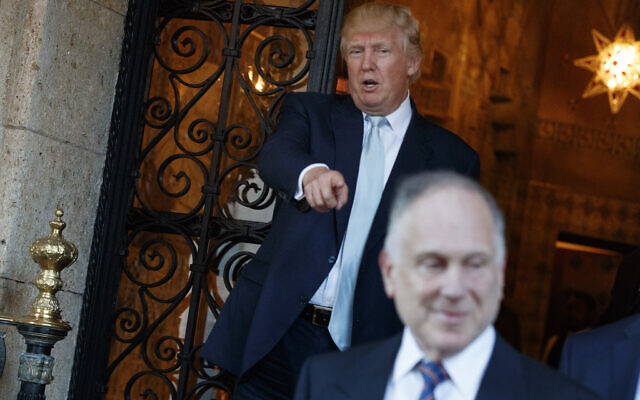 Illustrative: Donald Trump points at World Jewish Congress President Ronald Lauder after meeting at Mar-a_Lago, on December 28, 2016, in Palm Beach, Fla. (AP/Evan Vucci)