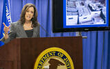 California Attorney Kamala Harris takes questions from the media a raid early in the day in downtown Los Angeles, Wednesday, Sept. 10, 2014. (AP Photo/Damian Dovarganes)