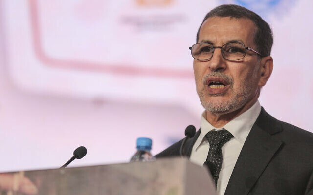 Morocco's Prime Minister Saad-Eddine El Othmani delivers a speech in Marrakech, Morocco, January 30, 2018. (AP/Mosa'ab Elshamy)