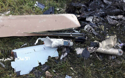 Illustrative: This Saturday, March 31, 2018 photo released by Hezbollah Central Military Media, shows the wreckage of an Israeli military drone that crashed not far from the Israeli border, in the area of Khalet Mariam near the southern village of Baraashit, in south Lebanon. (Hezbollah Military Media, via AP)