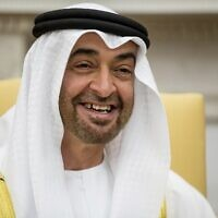 Abu Dhabi's crown prince and de-facto ruler of the UAE, Sheikh Mohammed bin Zayed Al Nahyan, smiles during a meeting with US President Donald Trump at the White House in Washington, May 15, 2017. (AP/Andrew Harnik, File)