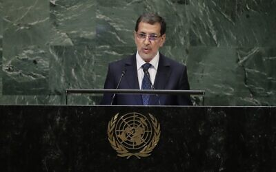 Morocco's Prime Minister Saad-Eddine El Othmani addresses the 73rd session of the United Nations General Assembly Tuesday, Sept. 25, 2018, at the United Nations headquarters. (AP Photo/Frank Franklin II)