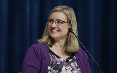 Then-mayoral candidate Kate Gallego pauses before answering a question during a mayoral debate at Phoenix College Thursday, September 27, 2018, in Phoenix. (AP Photo/Ross D. Franklin)