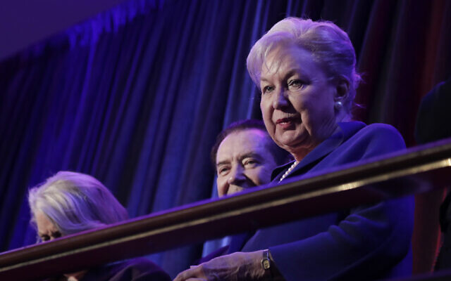 In this Nov. 9, 2016 file photo, federal judge Maryanne Trump Barry, older sister of Donald Trump, sits in the balcony during Trump's election night rally in New York (AP Photo/Julie Jacobson, File)