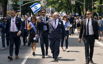 The-consul general of Israel in New York Dani Dayan at the Celebrate Israel Parade, June 2, 2019, in New York. (AP Photo/Craig Ruttle)
