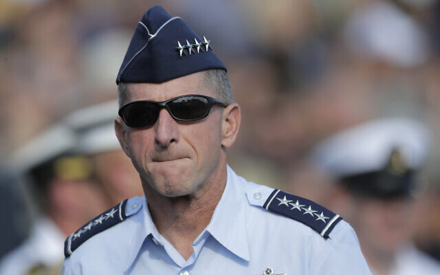 David L. Goldfein, chief of staff of the US Air Force, walks on the field during the first half of an NCAA college football game between Navy and Air Force, October 5, 2019, in Annapolis, Maryland. (AP Photo/Julio Cortez)