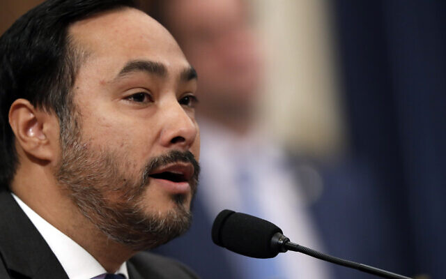 Rep. Joaquin Castro, D-Texas, questions former White House national security aide Fiona Hill, and David Holmes, a US diplomat in Ukraine, as they testify before the House Intelligence Committee on Capitol Hill in Washington, Thursday, Nov. 21, 2019. (AP Photo/Andrew Harnik)