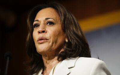 Sen. Kamala Harris, D-Calif., talks to reporters about the impeachment trial of President Donald Trump on charges of abuse of power and obstruction of Congress, at the Capitol in Washington, Thursday, Jan. 16, 2020. (AP Photo/Matt Rourke)