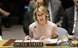 United States ambassador to the United Nations Kelly Craft speaks during a Security Council meeting at United Nations headquarters, Tuesday, Feb. 11, 2020. (AP Photo/Seth Wenig)