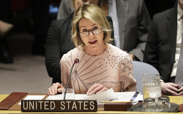 United States ambassador to the United Nations Kelly Craft speaks during a Security Council meeting at United Nations headquarters, February 11, 2020. (AP Photo/Seth Wenig)