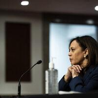 Sen. Kamala Harris, Democrat-California, attends a Senate Judiciary Committee business meeting on Capitol Hill in Washington, June 11, 2020. (Erin Schaff/The New York Times via AP, Pool)