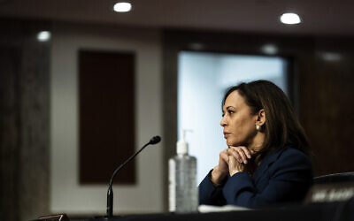 Sen. Kamala Harris, Democrat-California, attends a Senate Judiciary Committee business meeting on Capitol Hill in Washington, June 11, 2020. (Erin Schaff/The New York Times via AP, Pool)