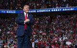 In this June 20, 2020, file photo US President Donald Trump arrives on stage to speak at a campaign rally at the BOK Center in Tulsa, Oklahoma (AP Photo/Evan Vucci, File)