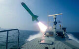 In this photo released July 28, 2020, by Sepahnews, a Revolutionary Guard's speed boat fires a missile during a military exercise (Sepahnews via AP)