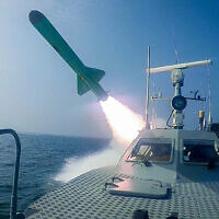 Illustrative: In this photo released July 28, 2020, by Sepahnews, a Revolutionary Guard's speedboat fires a missile during a military exercise (Sepahnews via AP)
