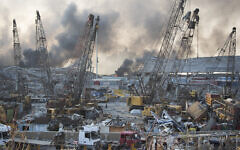 Aftermath of a massive explosion in Beirut, Lebanon, August 4, 2020. (AP Photo/Hassan Ammar)
