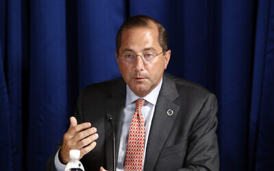 US Health and Human Services Secretary Alex Azar speaks during a roundtable discussion with US President Donald Trump on the coronavirus outbreak and storm preparedness at Pelican Golf Club in Belleair, Florida, on July 31, 2020. (AP Photo/Patrick Semansky, File)