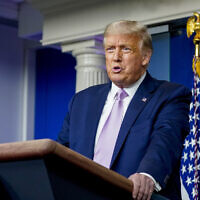 Us President Donald Trump speaks at a news conference in the James Brady Press Briefing Room at the White House, Tuesday, Aug. 11, 2020, in Washington. (AP Photo/Andrew Harnik)