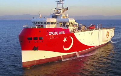 In this photo made from a video provided by the Turkish Energy Ministry on Aug. 12, 2020, Turkey's research vessel Oruc Reis is sailing off the west of Antalya on the Mediterranean, Turkey. (Turkish Energy Ministry via AP, Pool)